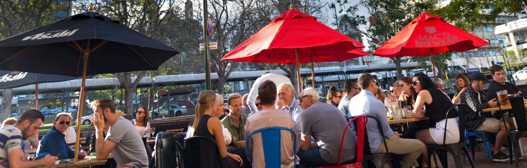 People enjoying a drink in the Octagon