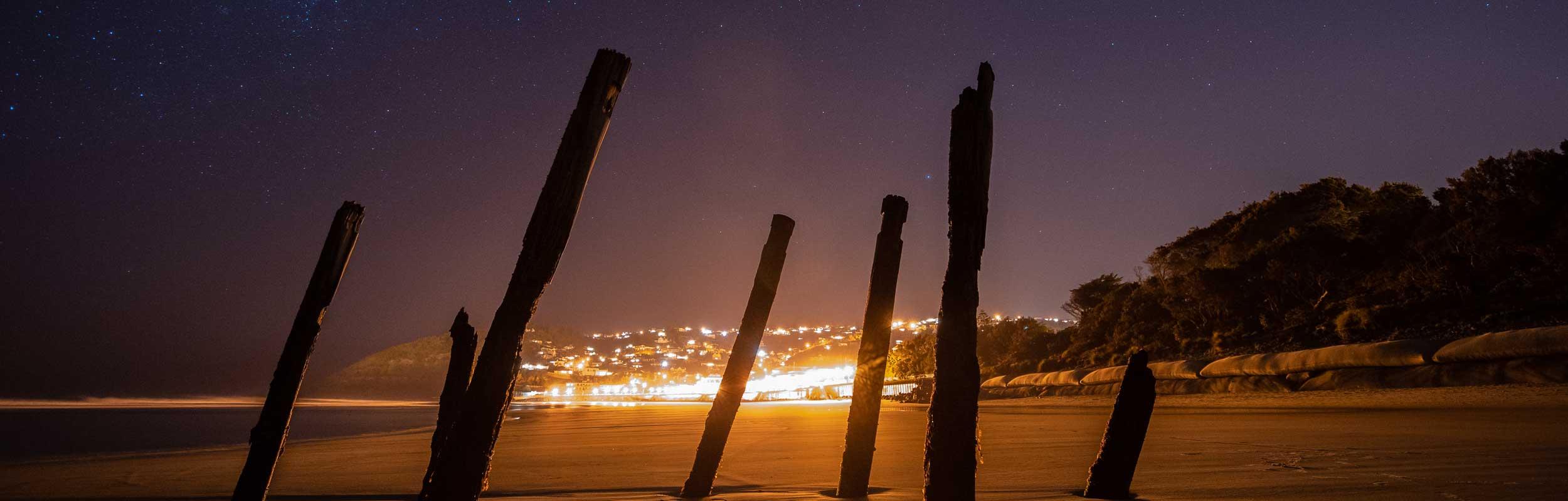 St Clair poles at night