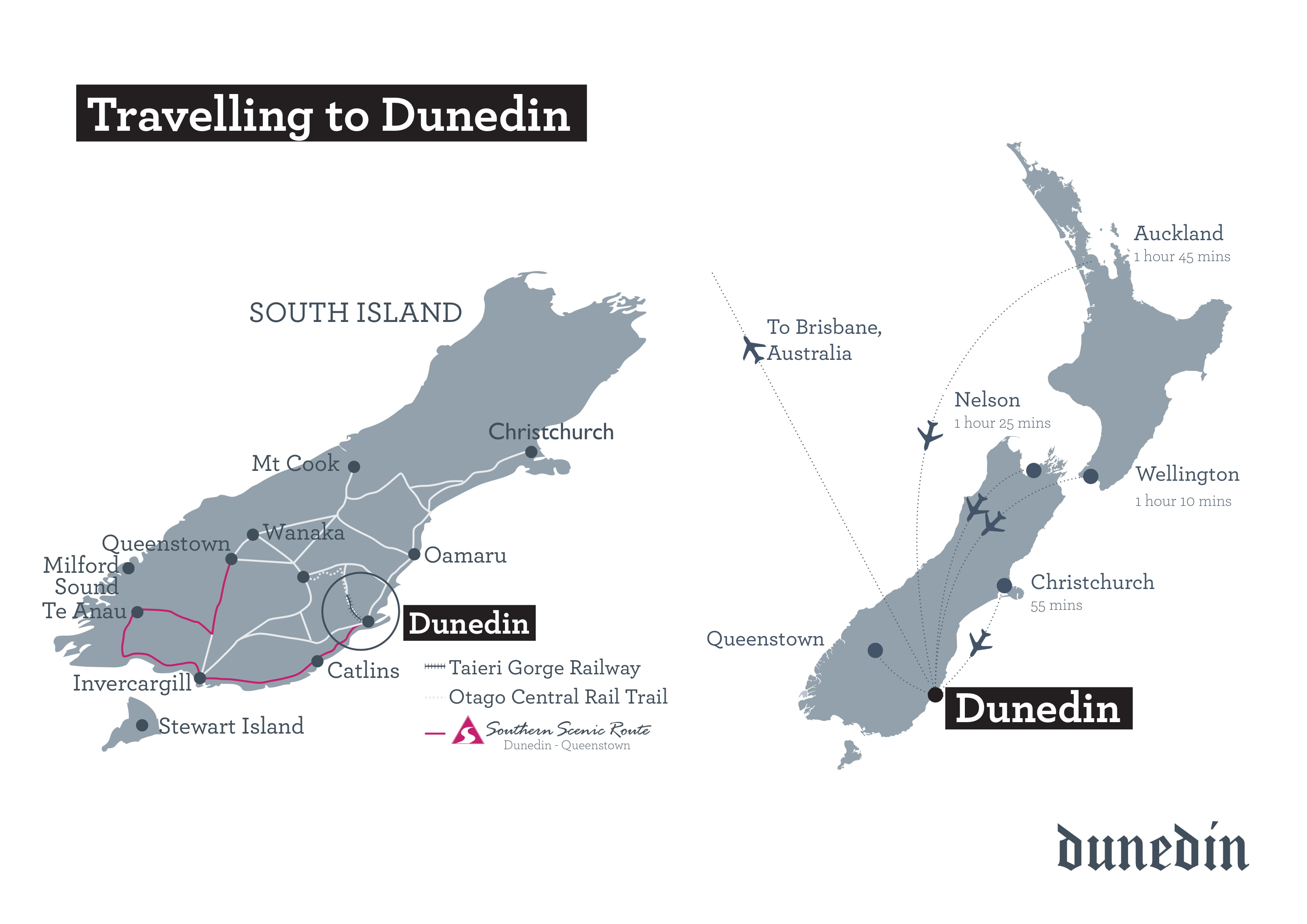 Travelling to Dunedin map