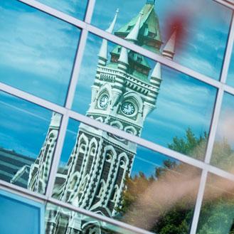 Clocktower reflection