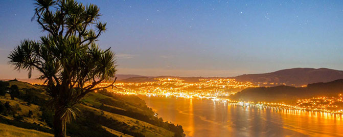Cityscape Otago Peninsula at night