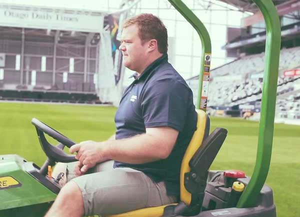 Groundsman at Forsyth Barr Stadium, Brendan Eathorne (Ox)
