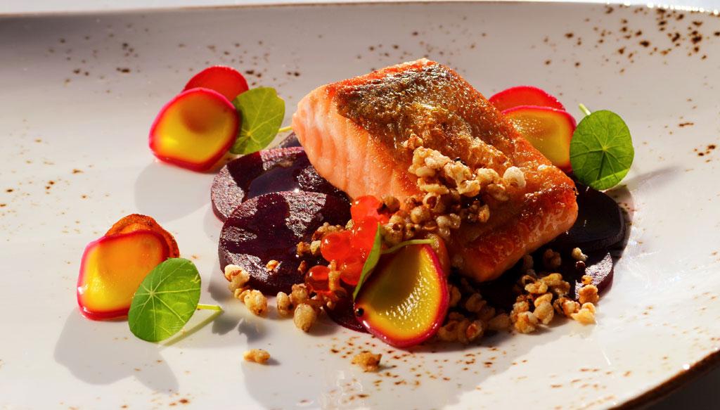 Ora King Salmon with Beetroot and Radish by Hannes Bareiter. Glenfalloch Restaurant